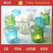 China manufacturers ribbed glass lantern candle holder for home