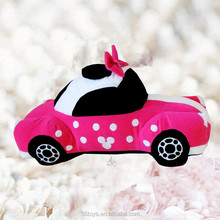 Lovely plush toy car with bowknot for baby girl car toy