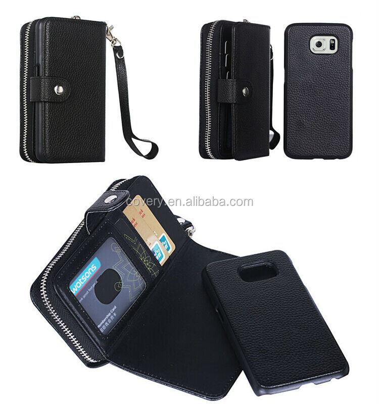 For Samsung Galaxy S5 i9600 Zipper Wallet Case with Removable Cover