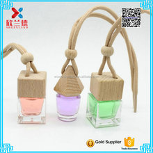 Small hanging car air freshener with wooden cap