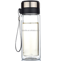 10oz double wall transparent glass drink water bottles