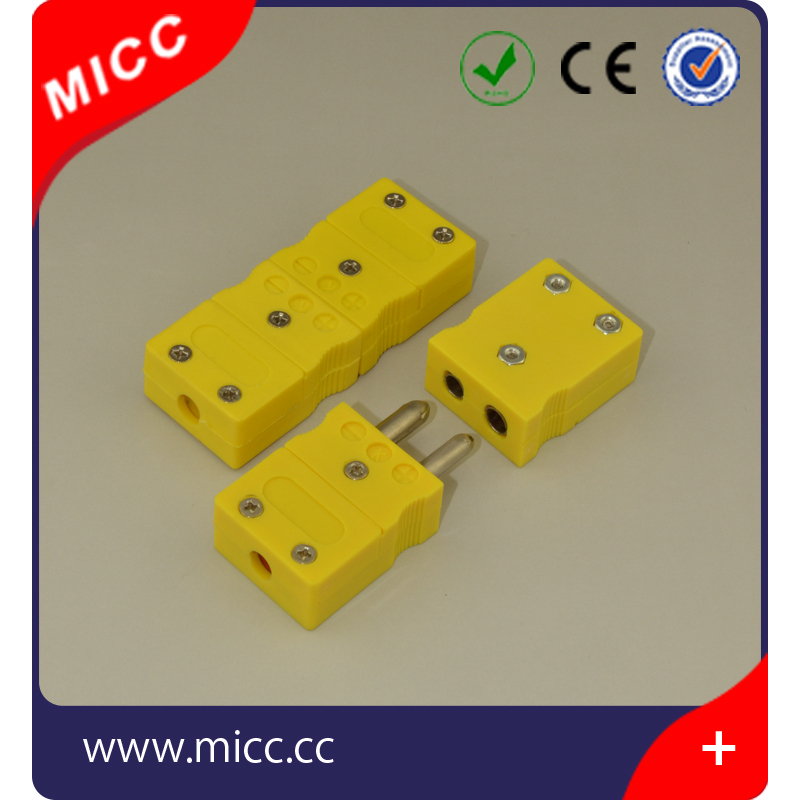 2 hollow pin standard yellow type k thermocouple connector