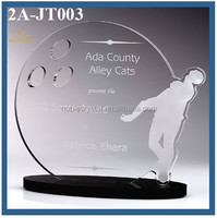 Crystal Bowling Award Plaque Sport Theme Crystal Trophy