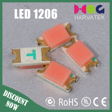 SMD LED with 150mcd Luminous Intensity and Emitted Hyper Red Color (3.2*1.5*1.1 mm)1206 LED chips