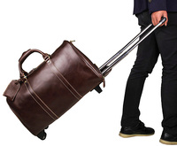 7077LC Unisex Coffee Genuine Leather Travel Trolley Dispatch Bag