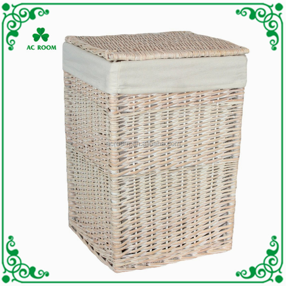 Wholesale hand woven natural wicker rattan dirty clothes willow laundry storage basket with lid and lining