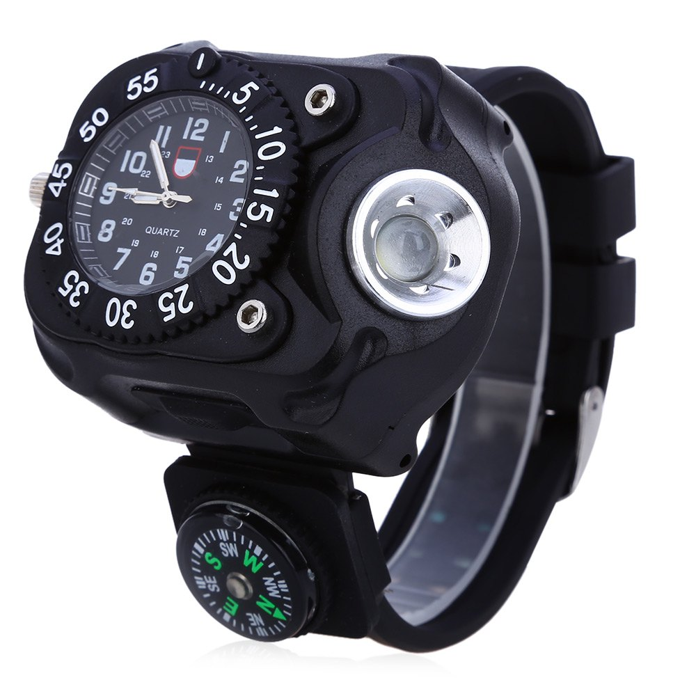 Men Quartz Outdoor Sport Watch with Compass Water Resistant Wristwatch with Rechargeable Bright Flashlight Multifunctional Tool