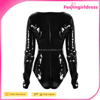 High quality 2016 black zipper front faux leather cheap womenbodysuits long sleeve bodysuit