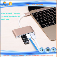 2016 China Wholesale usb c type connector charging port USB 3.1 Type C HUB Male to Multiple 4 Type-A 3.0 Hub Adapter