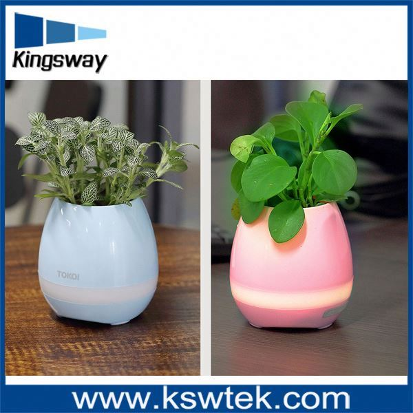 2017 Hotel Decoration Small Smart Touch Music Flowerpot Battery Operated Led Bluetooth Wireless Plant Pot With Night Light
