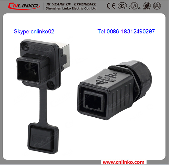 factory Ip67 Waterproof plastic Rj45 Connector IP67 Rj45 Panel Mount Connector RJ45 bulkhead waterproof connector