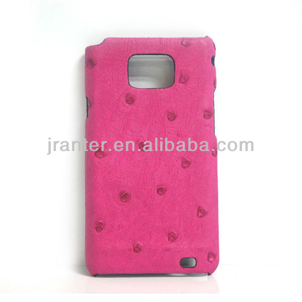 Luxury Mobile Phone Cases Genuine Ostrich Leather for Samsung I9100 Case Cell Phone Accessories Case for I9100