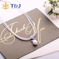 2016 Elegant jewelry women white imitation pearl bow crystal fancy pendant pearl necklace