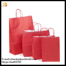Hot sale custom made twist paper handle high quality craft paper shopping bags
