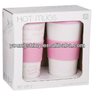 2-PC.16oz DOUBLE WALL PP COFFEE MUGS W/SILICONE BAND