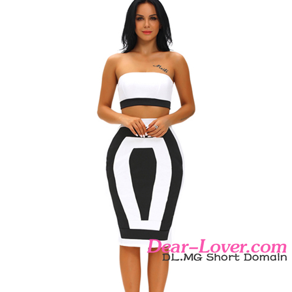White new Bandeau Color-block Two Pieces women office skirt suit