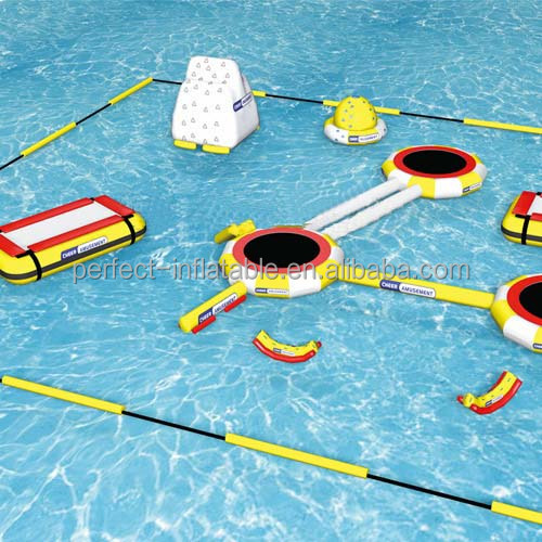 Summer holiday Inflatable floating water park, inflatable water equipment with slide, jumping bounce