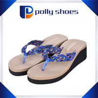 High platform wedge women causal shoes,straw upper deaded decoration