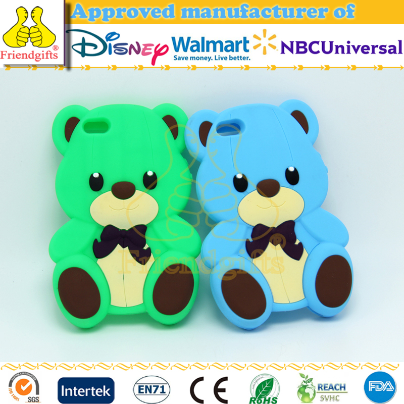 Custom cute bear cartoon silicone cover case for iphone 5 5s, for iphone 5 case 3d silicone ,for iphone case 3d cartoon