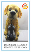 hot selling resin garden dog statues with solar light made in china