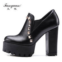 women's new design PUleather block high heel shoes party dress platform round toe rivets pumps shoes
