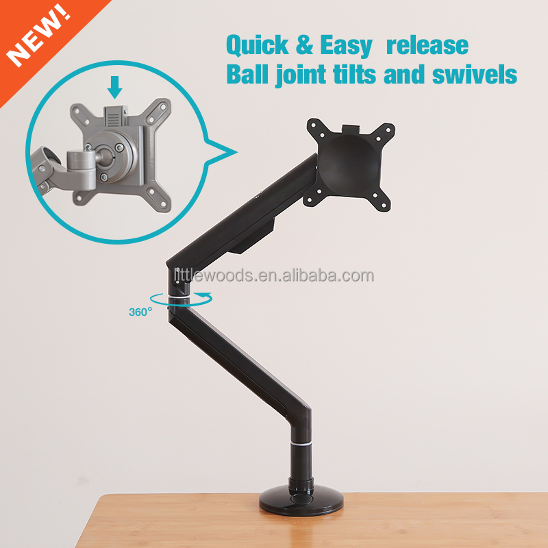 Heavy duty Full Motion Articulating Monitor & Laptop adjustable aluminum Desk Mount
