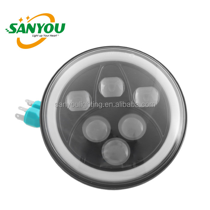 popular led jeep headlight 60w 7inch led round angel eyes headlight white&yellow angle eye