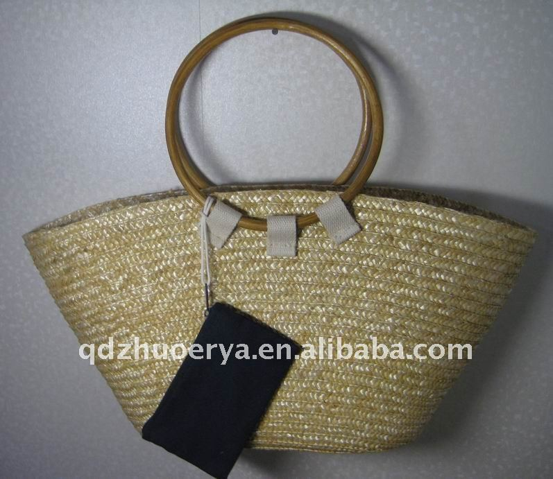 straw handbag with bus card bag