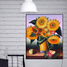 Hand Painted Sunflower Oil Pictures Artificial Flower Oil Paintings Canvas Paintings