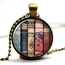 Book Necklace BP87 Gift for a writer reader teacher Glass cabochon necklace