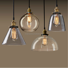 Vintage Clear Glass Shade Pendant lamps Retro Lamp Fixture