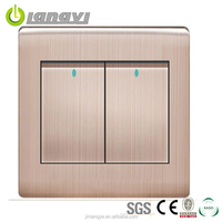 China Manufacturer Steel Frame 2 Gang 1 Way Electrical Switches Home
