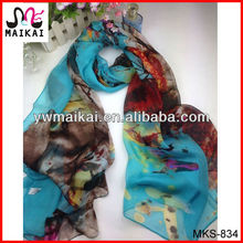 Wholesale digital print silk chiffon new styles fashion asian scarf