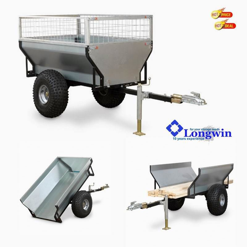 off-road 2 wheel ATV dump cargo trailer