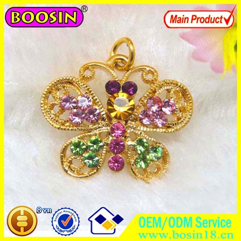 Newly 2014 rhinestone butterfly necklace gold jewelry #11695