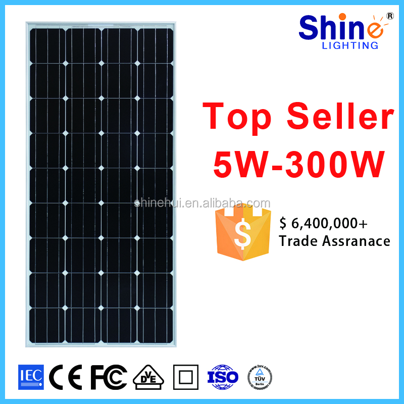 Top 1 china suppliers 150 watt monocrystalline solar panels 156x156 solar cells for solar power system home
