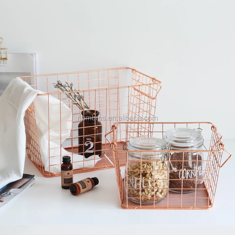 Wholesales Household Storage Rose Gold Wire Organizer Basket