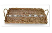 wicker serving tray/wicker fruit tray/rectangular wicker basket tray