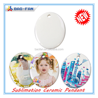 Christmas Decorations Sublimation Ceramic Pendant Sublimation Blank Oval Shape Ceramic Pendant/Ornament