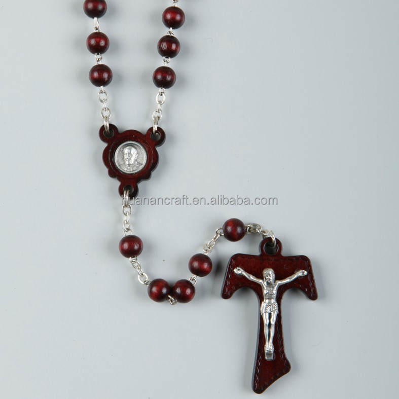 Special hot selling wooden bead jesus cross chain Necklaces