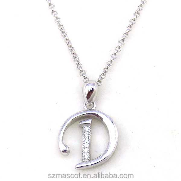 Fashion Sterling Silver Zircon Alphabet Letter D Pendant Jewelry