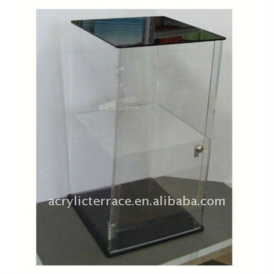Clear Acrylic 2 Tier Locking Display Case Showcase Cabinet