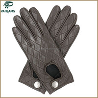 Best-selling Deerskin motorcycle gloves Modern Ladies Brown Deerskin Motorcycle Gloves with Snap