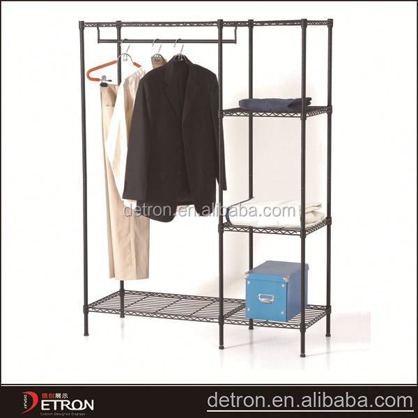 Household adjustable garment closet wire shelving