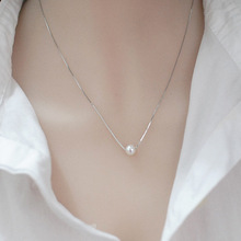 925 sterling silver simple pearl pendant necklace