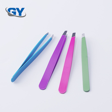 Factory direct stainless steel girl plastic eyebrow tweezers