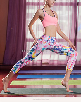 Hot sexy fitness yoga pants and leggings fashion printed sport pants HST7331