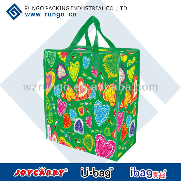 Reusable shopping tote bag with zip handles, zip laundry bags