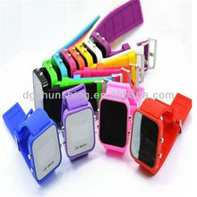 Promotion! square silicone wristband in mirror LED watch