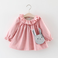 AiLe Rabbit Baby Girls Dresses 2017 Lotus Collar O-neck Puff Full Sleeve Toddler Dress+Rabbit Pendant 2pcs Children Clothes